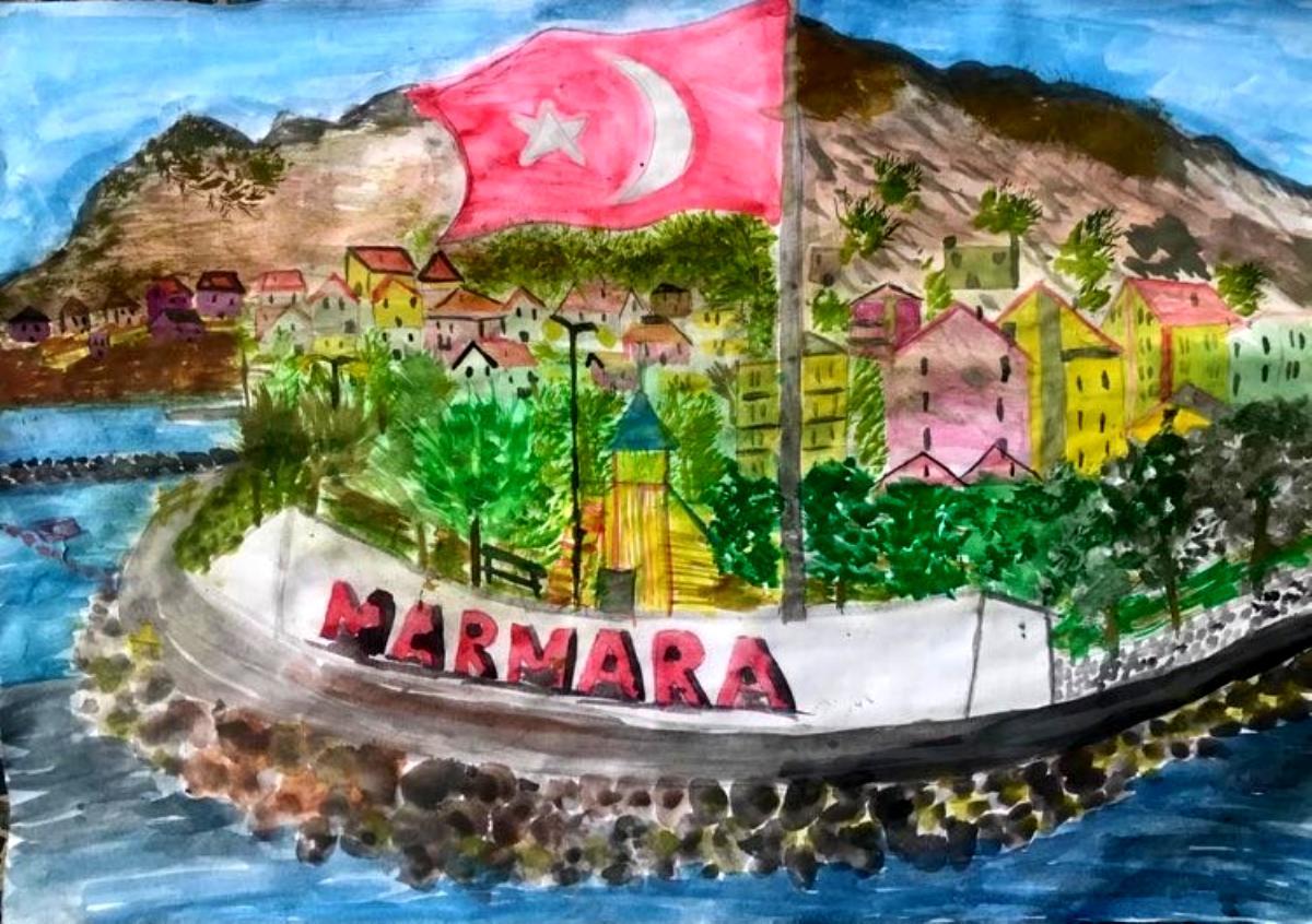 Resimleriyle öğrenciler Marmara yı anlattılar