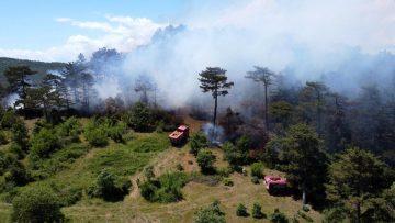 Balya daki yangın havadan görüntülendi